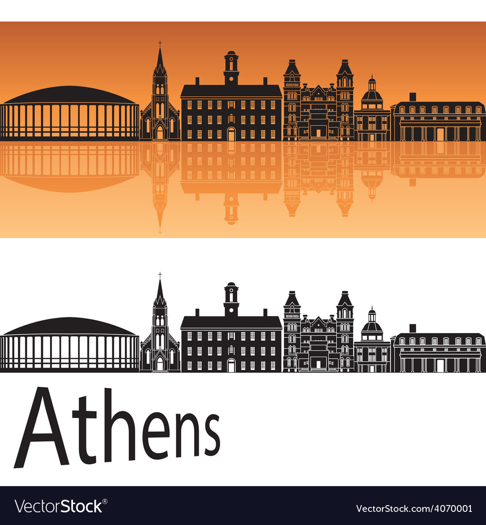 Athens skyline in orange background vector | Price: 1 Credit (USD $1)