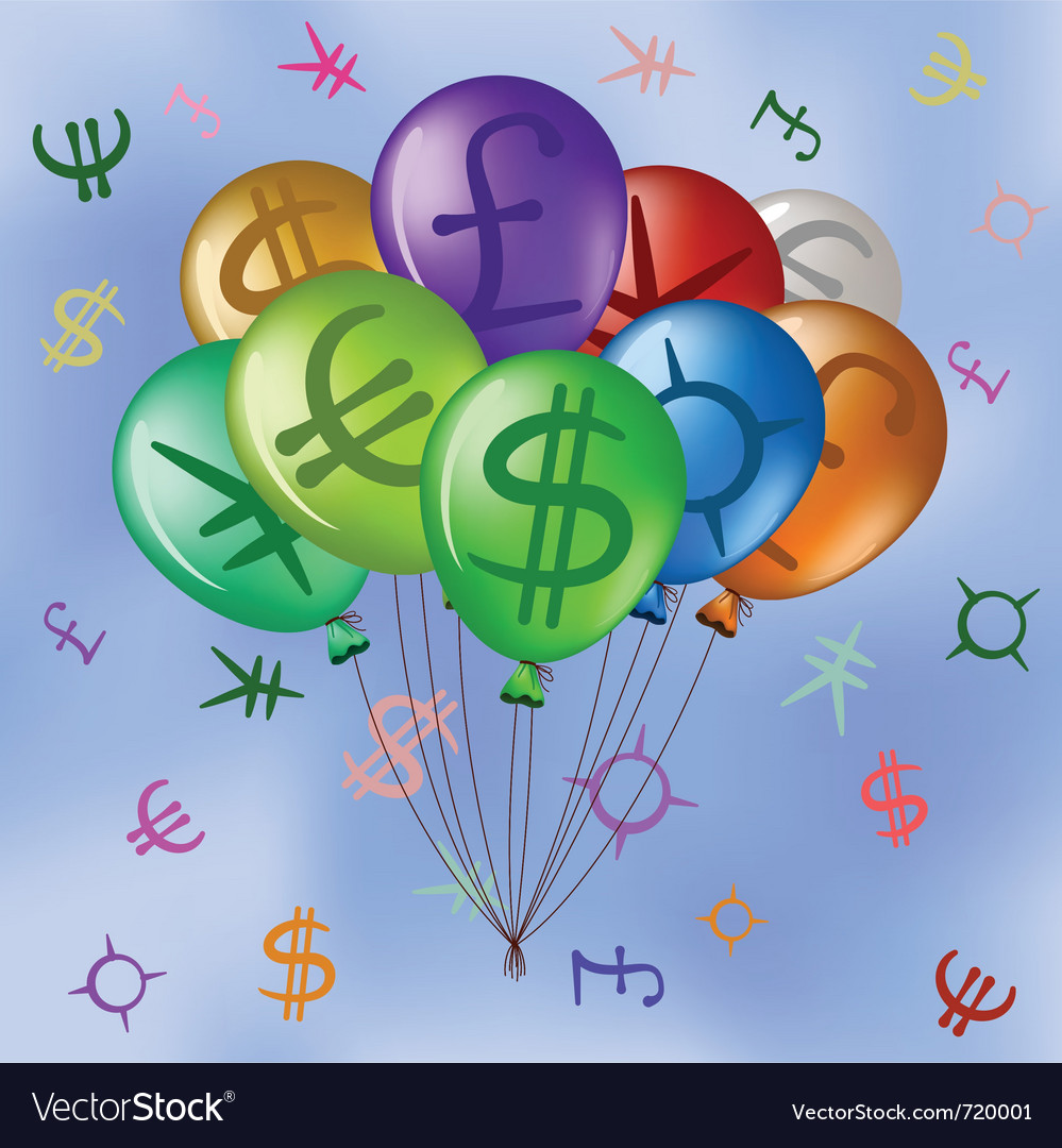 Balloons with currency signs in sky vector | Price: 1 Credit (USD $1)