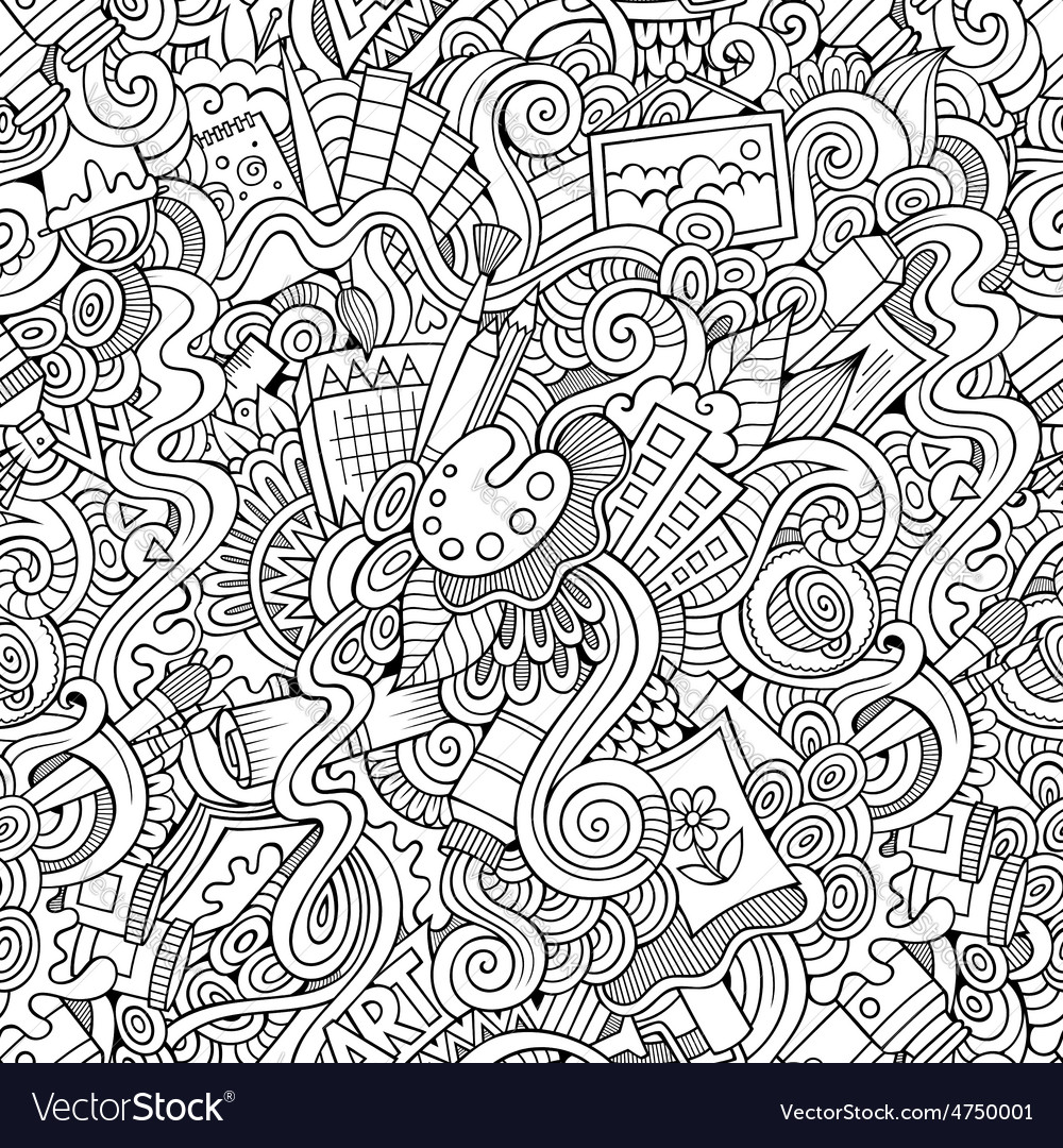 Cartoon art and craft seamless pattern vector | Price: 1 Credit (USD $1)