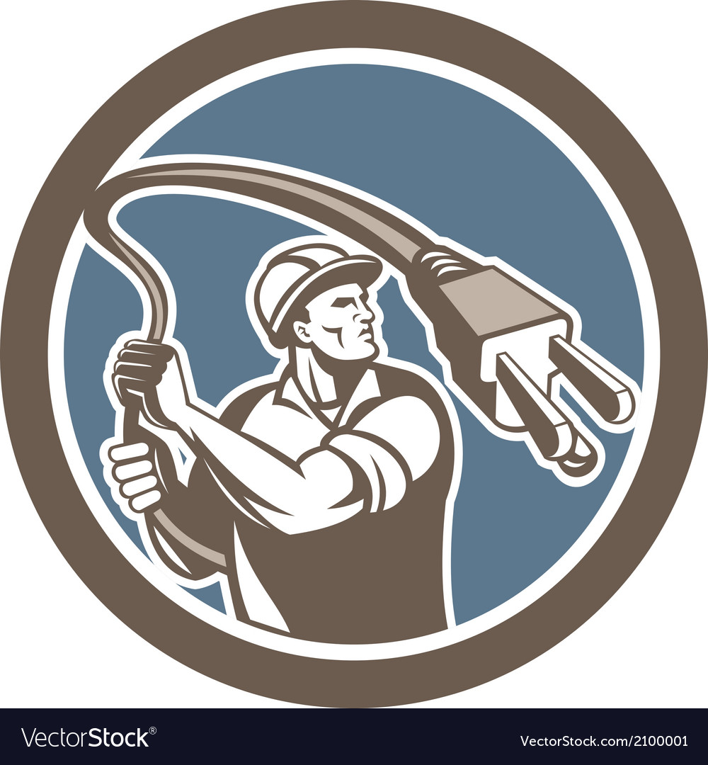 Electrician holding electric plug lasso retro vector | Price: 1 Credit (USD $1)