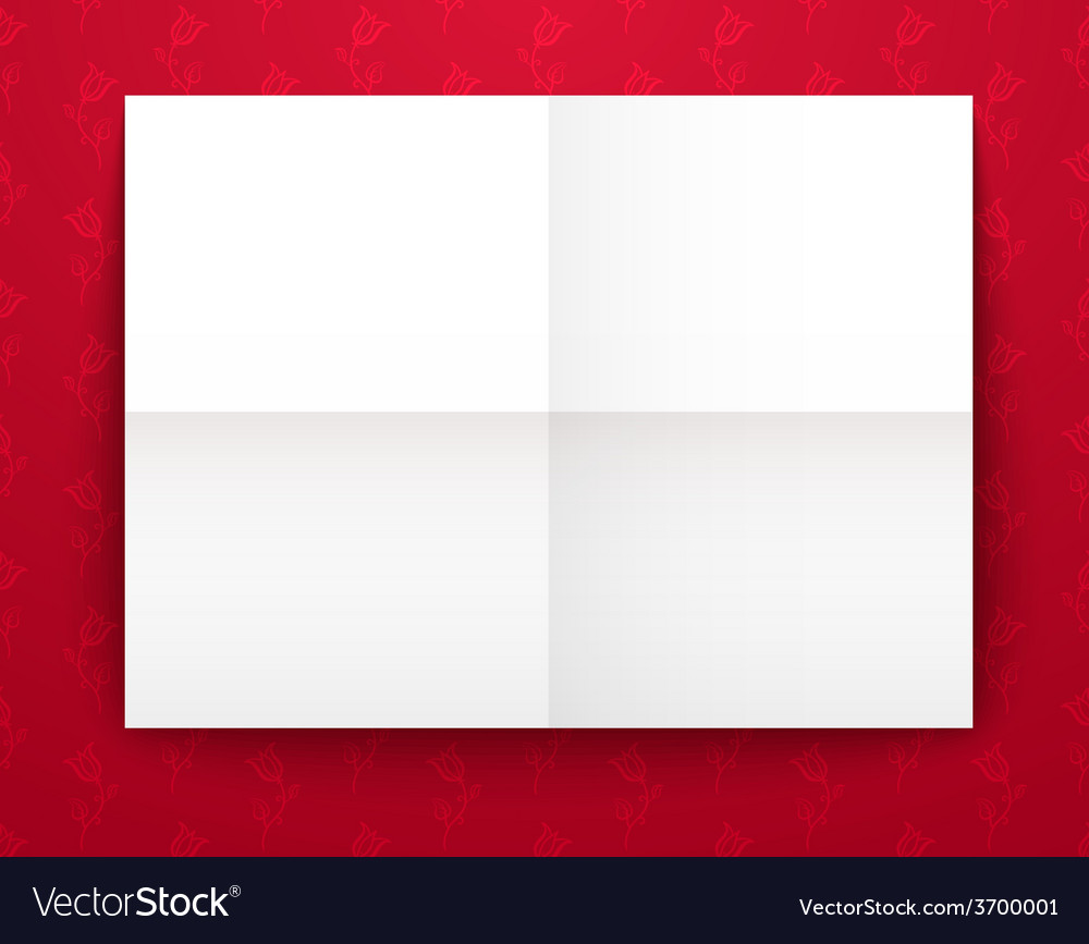 Empty old sheet of paper folded in fourfold on red vector | Price: 1 Credit (USD $1)