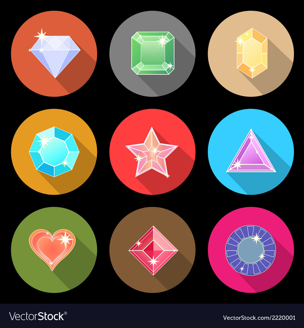 Gem stone cutting flat color icons with long vector | Price: 1 Credit (USD $1)