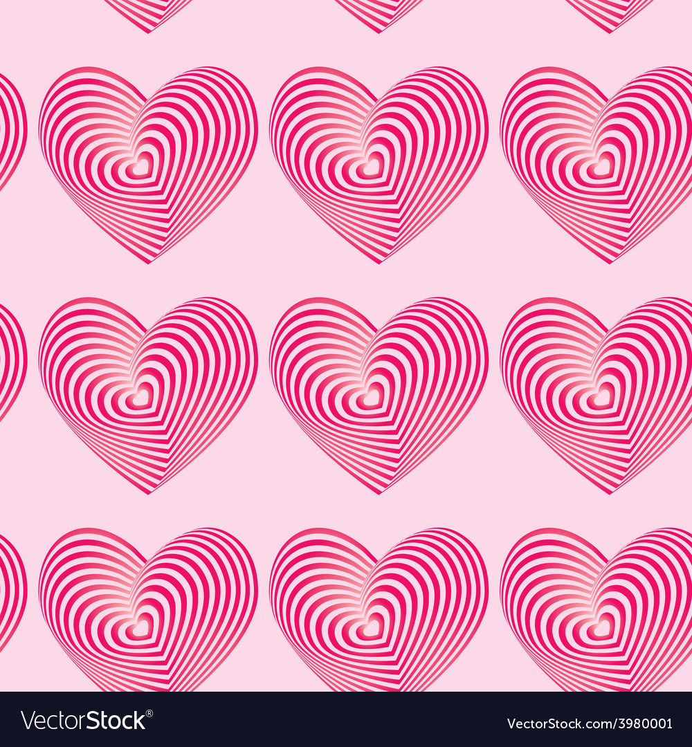 Pink hearts seamless patterns optical 3d vector | Price: 1 Credit (USD $1)