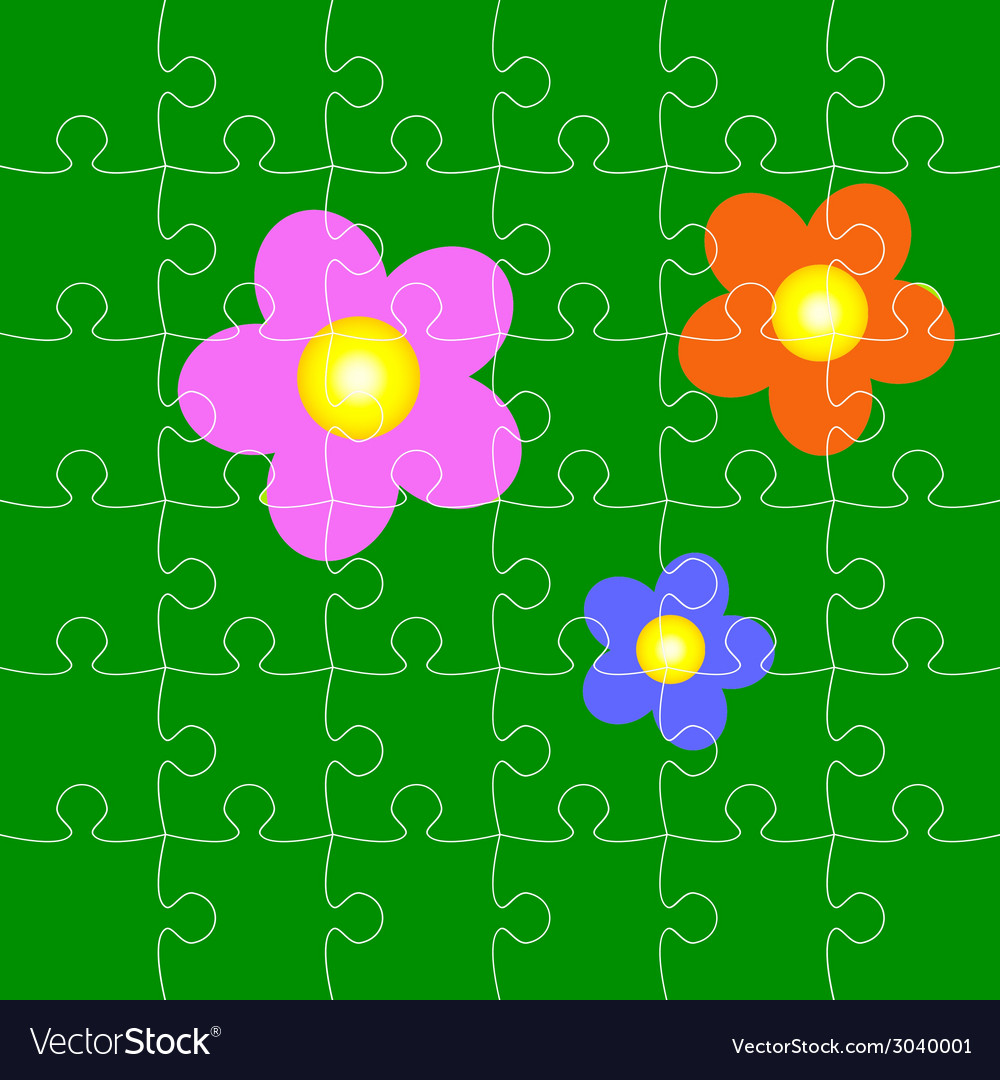 Puzzles with flowers vector | Price: 1 Credit (USD $1)