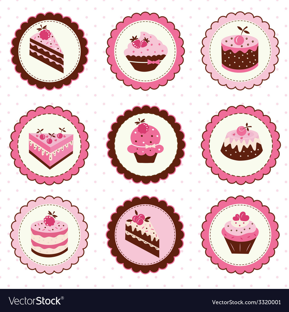 Set of cakes stickers vector | Price: 1 Credit (USD $1)