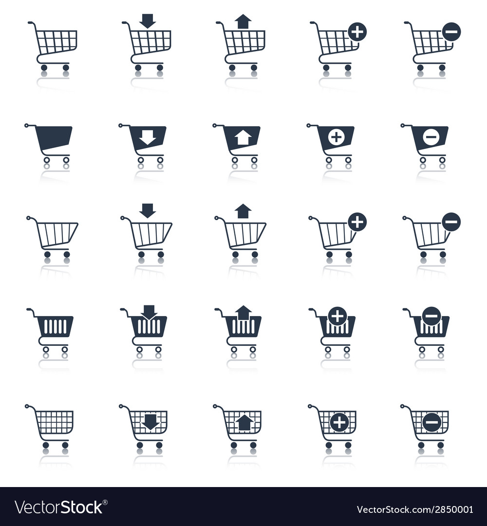 Shopping cart icons black vector | Price: 1 Credit (USD $1)