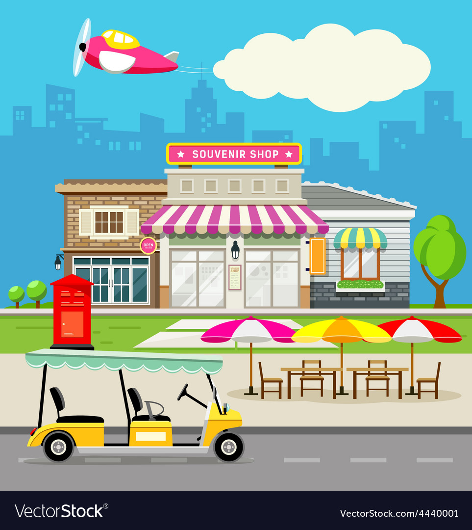 Souvenir shop design background vector