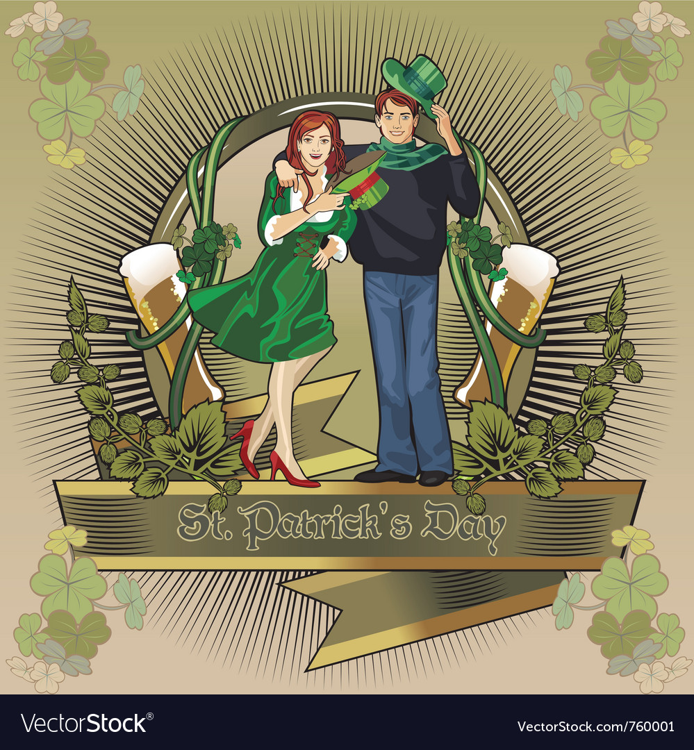 St patrick holiday beer label vector | Price: 3 Credit (USD $3)