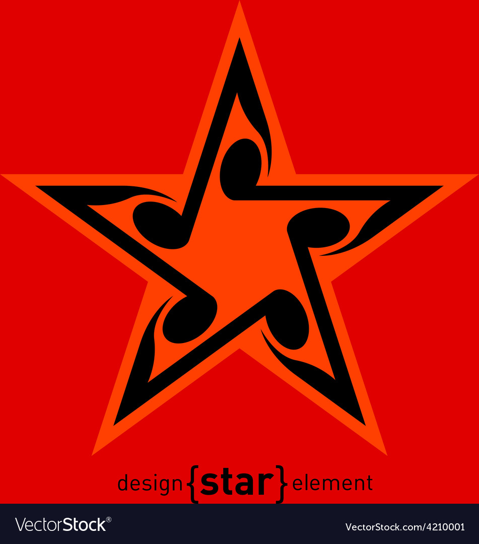 Star with wavy notes vector | Price: 1 Credit (USD $1)