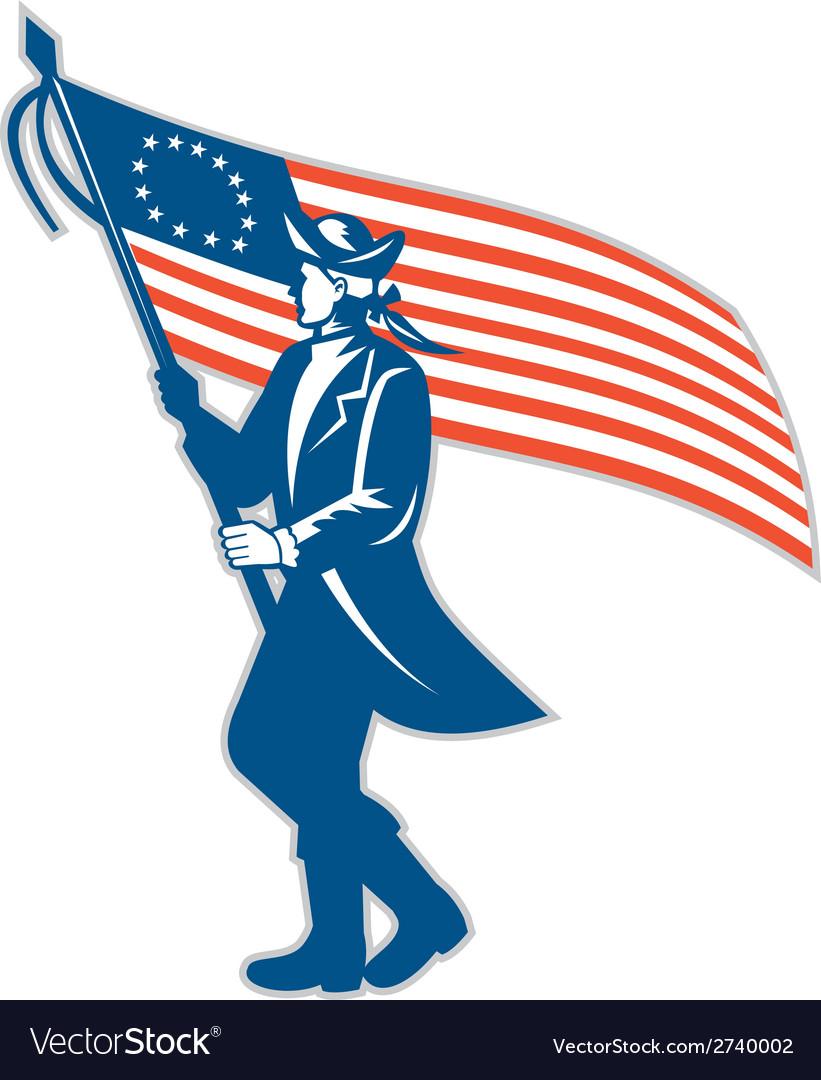 American patriot soldier waving usa flag circle vector   Price: 1 Credit (USD $1)
