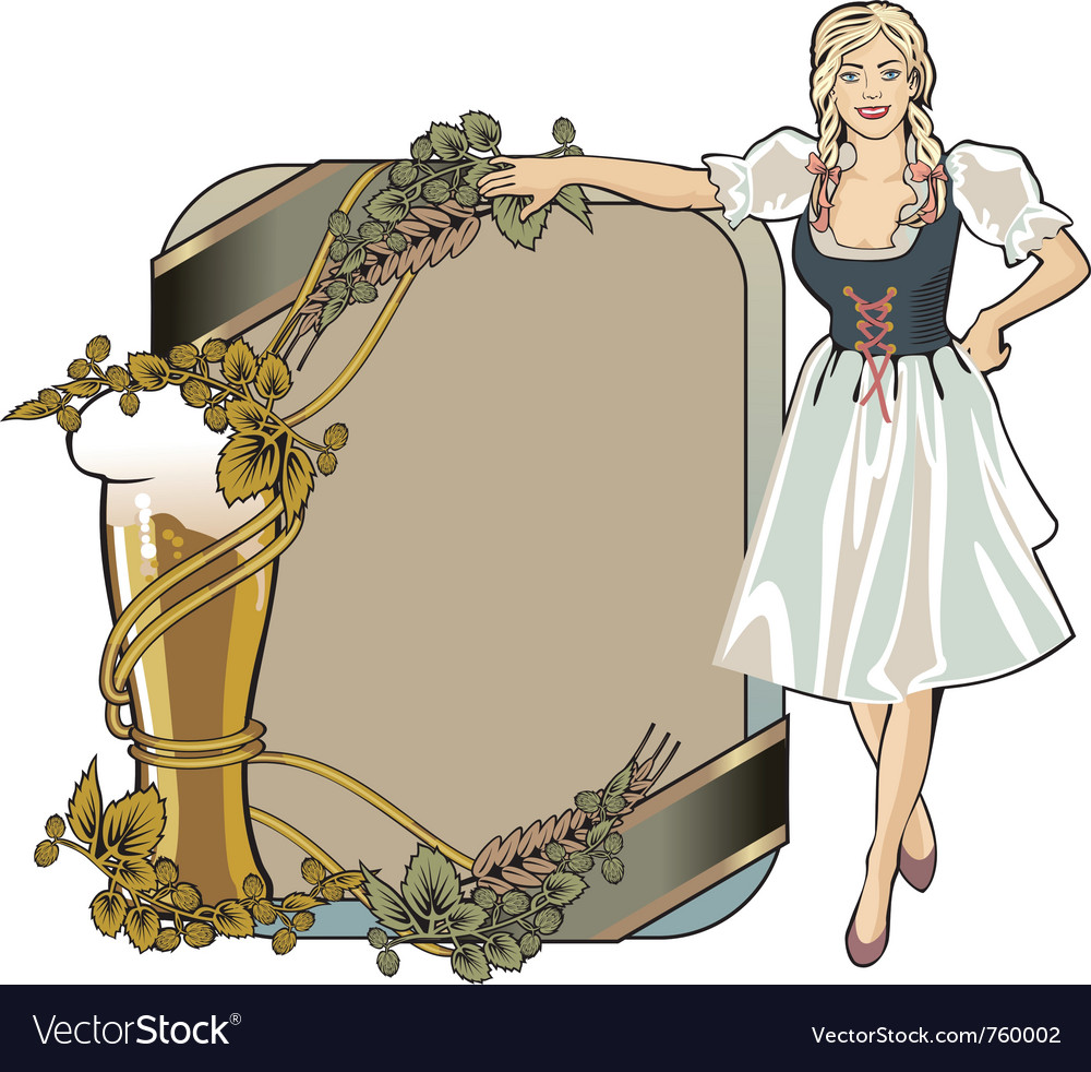 Beer label festival girl blond vector | Price: 3 Credit (USD $3)