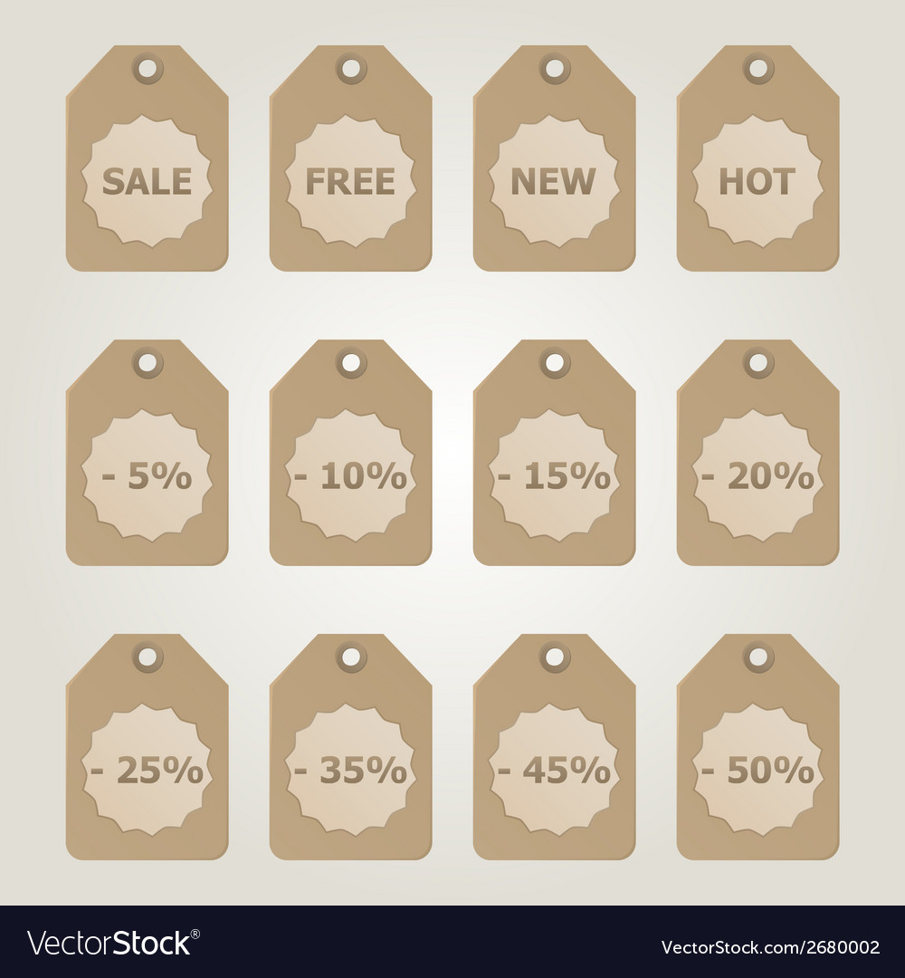 Brown sale tags vector | Price: 1 Credit (USD $1)