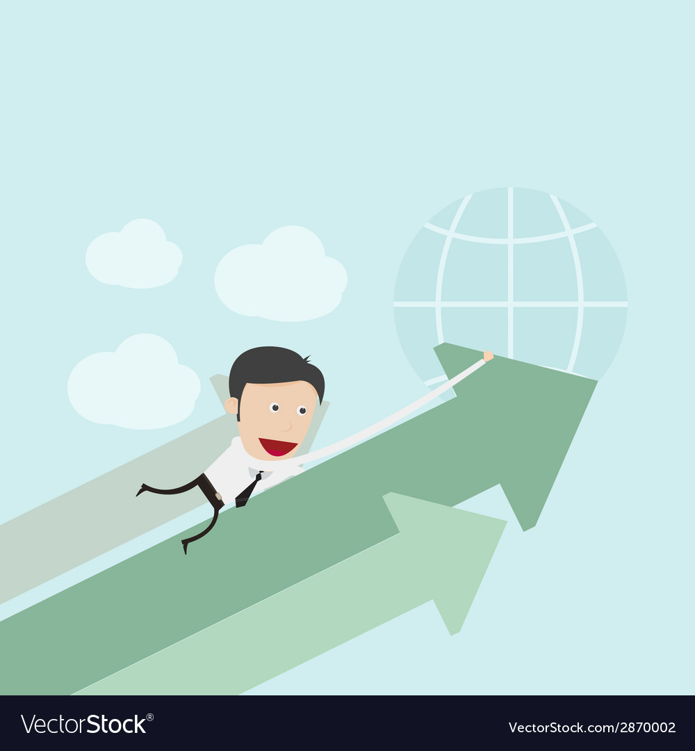 Businessman hugging positive graph vector | Price: 1 Credit (USD $1)