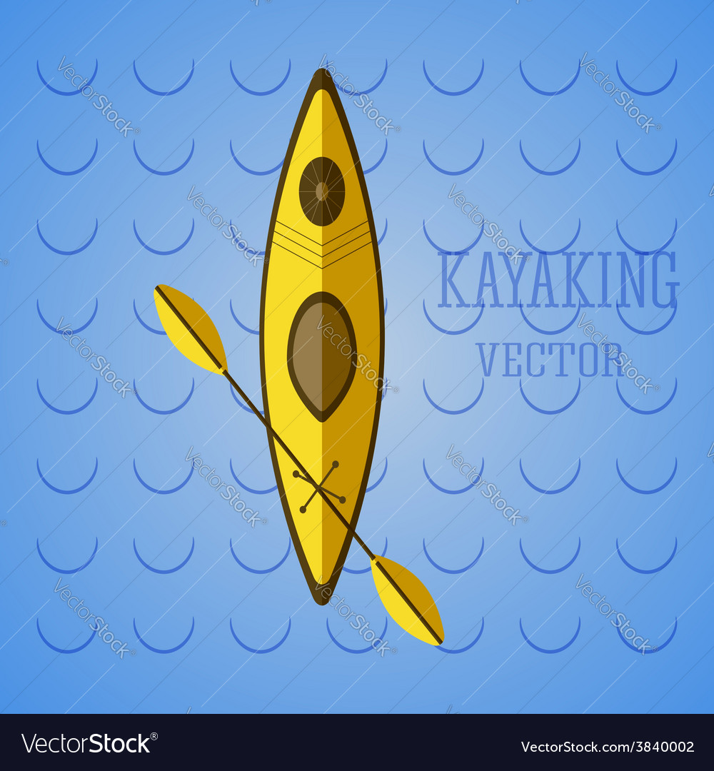 Canoe icon kayak on blue waves summer icon and vector | Price: 1 Credit (USD $1)