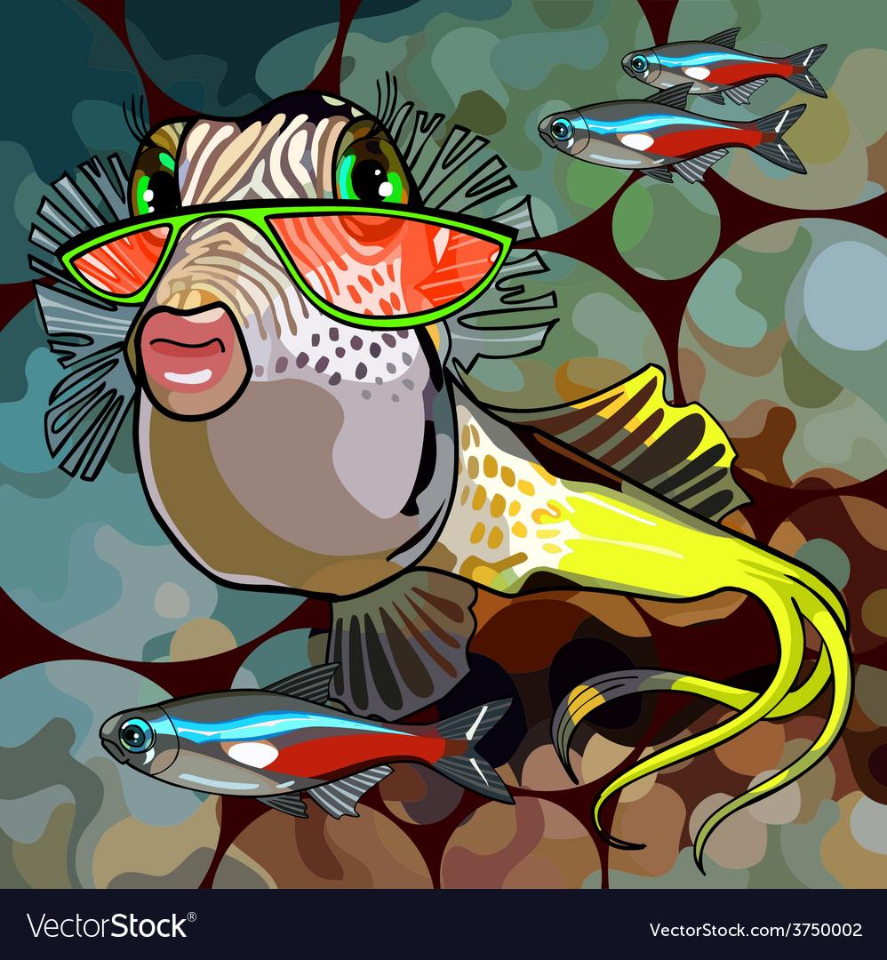 Cartoon fish glamor glasses vector   Price: 1 Credit (USD $1)