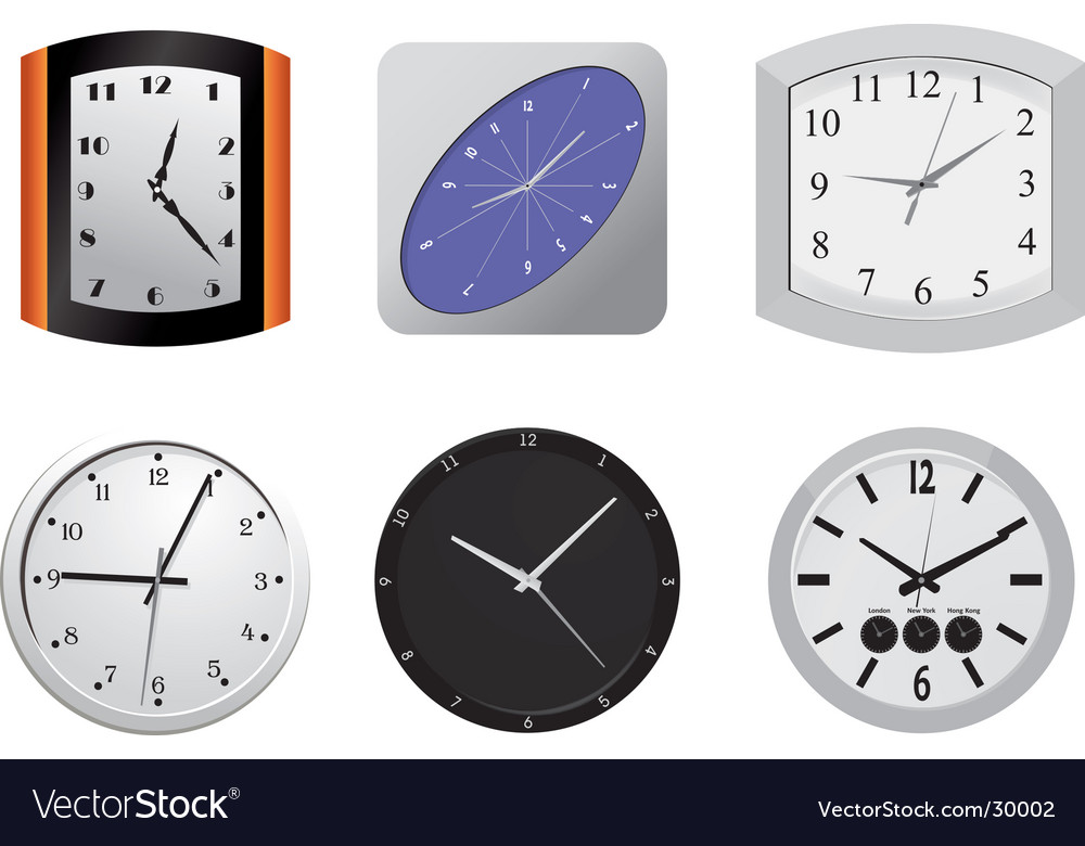 Clocks on the wall vector | Price: 1 Credit (USD $1)