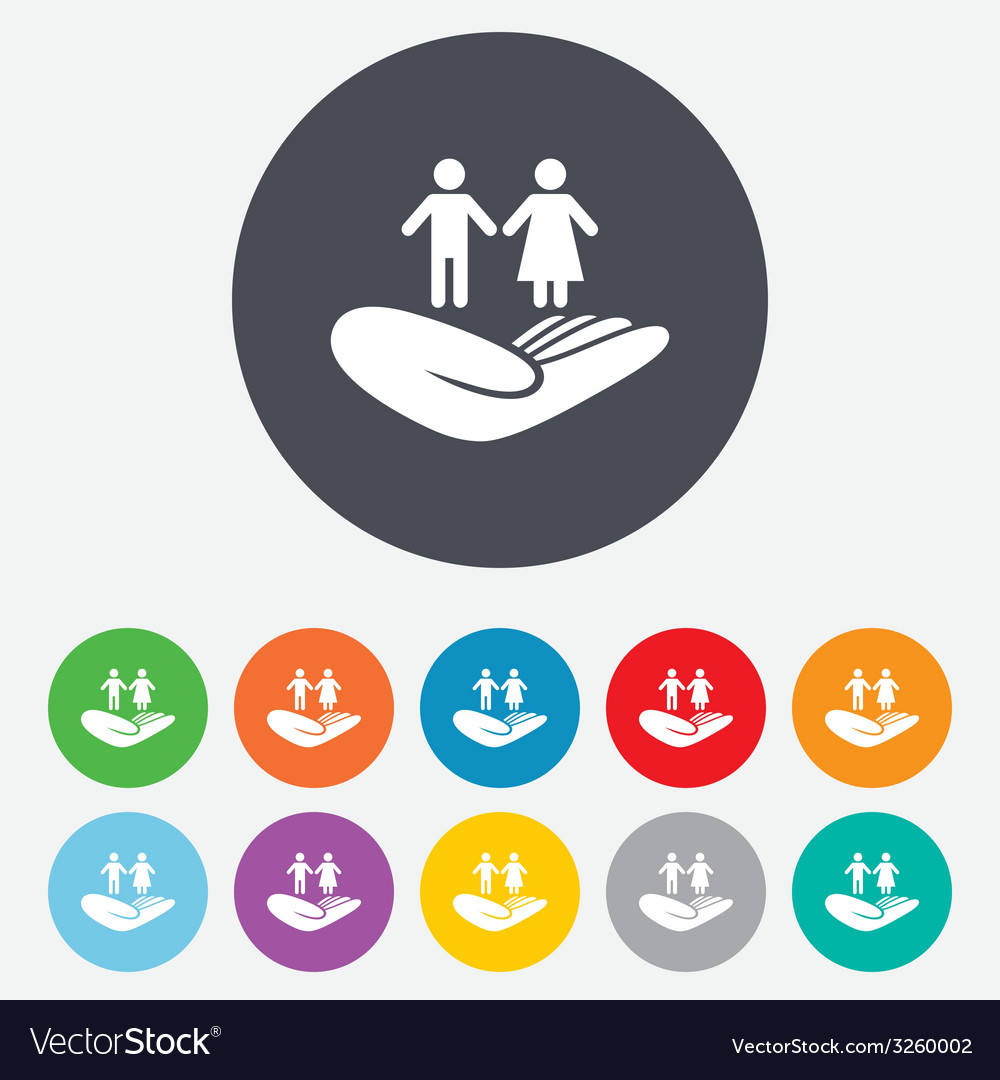 Couple insurance sign hand holds human group vector | Price: 1 Credit (USD $1)