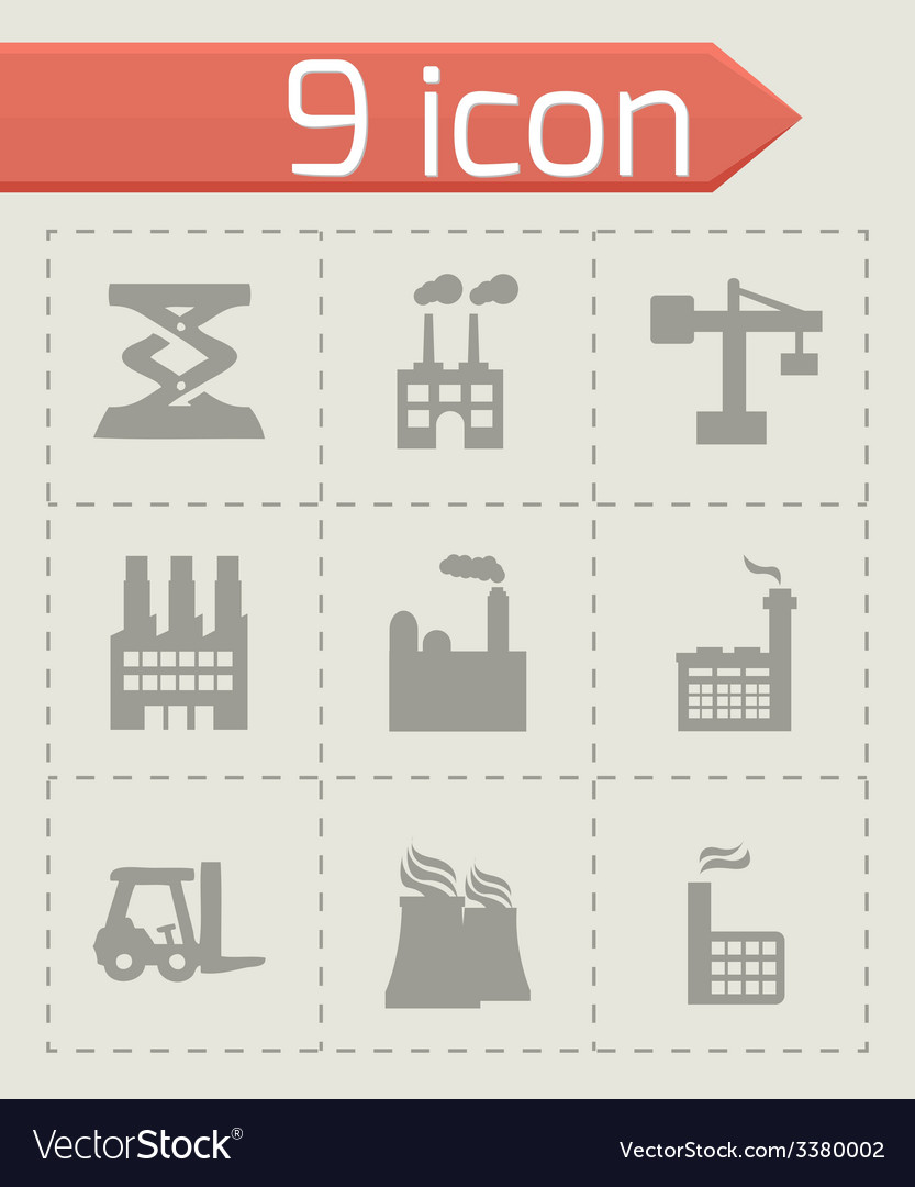 Factory icons set vector | Price: 1 Credit (USD $1)