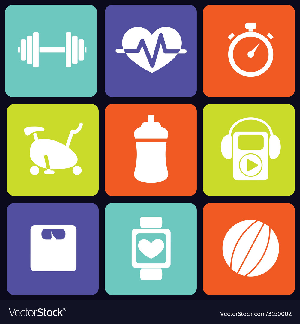 Fitness icons square vector | Price: 1 Credit (USD $1)
