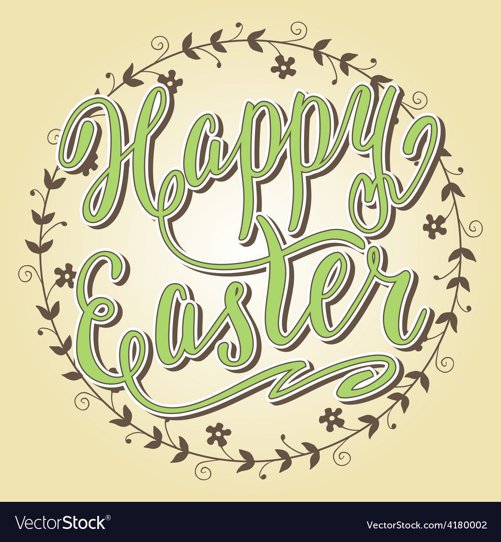 Happy easter card hand lettering vector | Price: 1 Credit (USD $1)