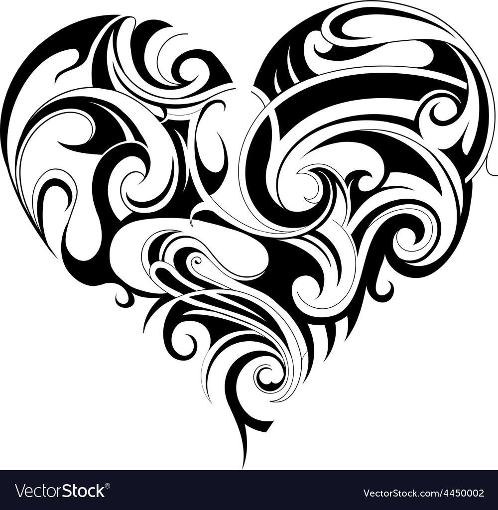 Heart shape tattoo vector | Price: 1 Credit (USD $1)