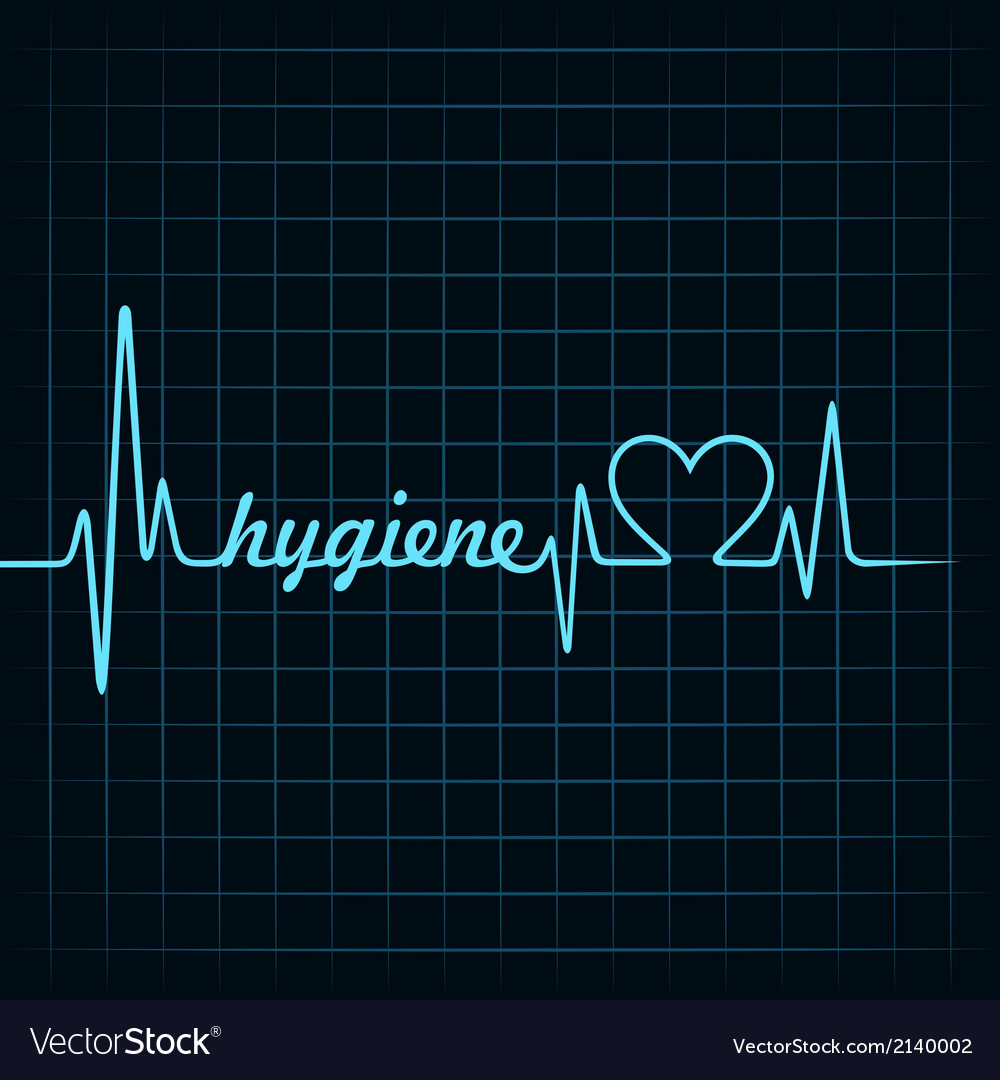 Heartbeat make hygiene word and heart symbol vector | Price: 1 Credit (USD $1)
