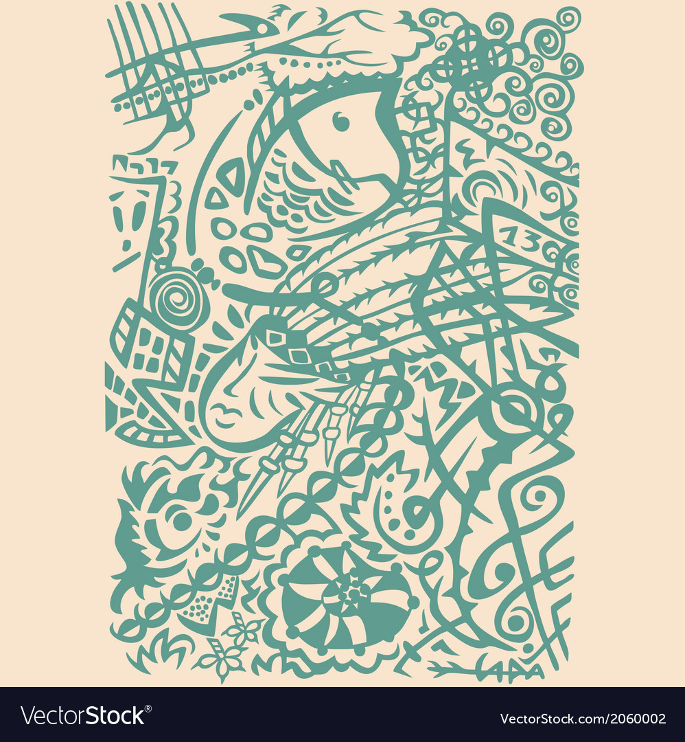 Indian art stylization symbolic design abstract vector | Price: 1 Credit (USD $1)