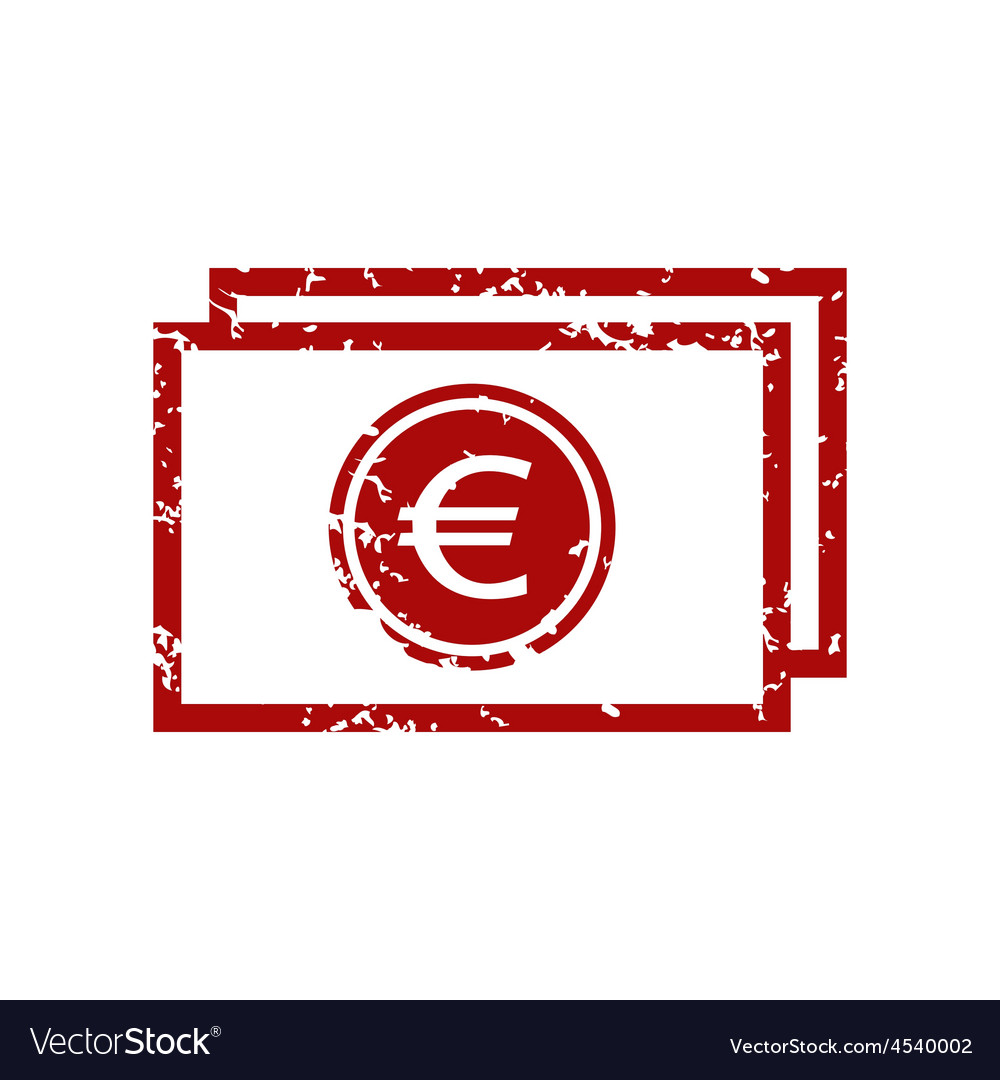Red grunge euro buck logo vector | Price: 1 Credit (USD $1)
