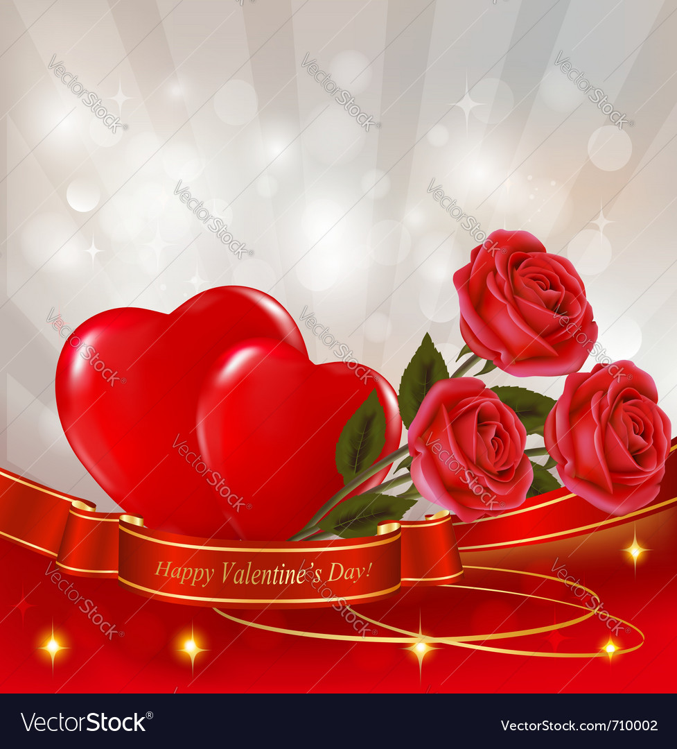 Red roses with red hearts vector | Price: 3 Credit (USD $3)