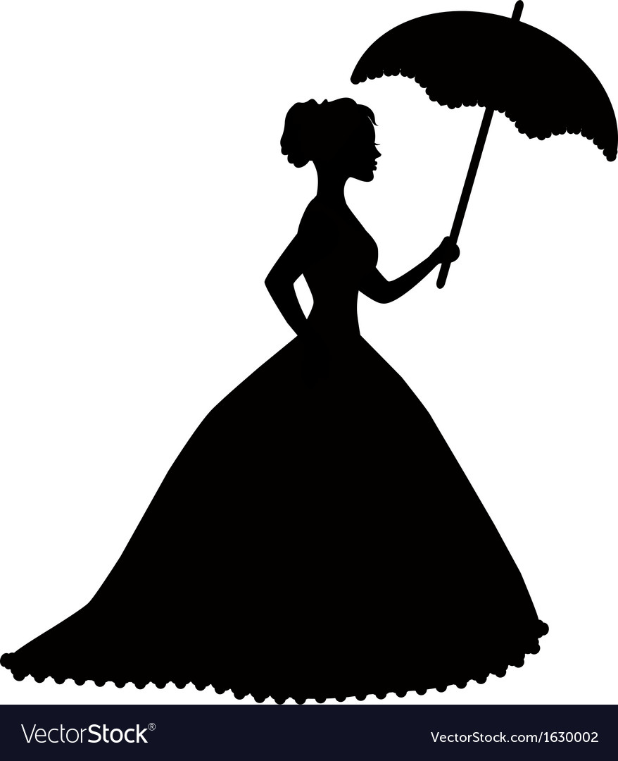 Retro silhouette of a woman with umbrella vector | Price: 1 Credit (USD $1)