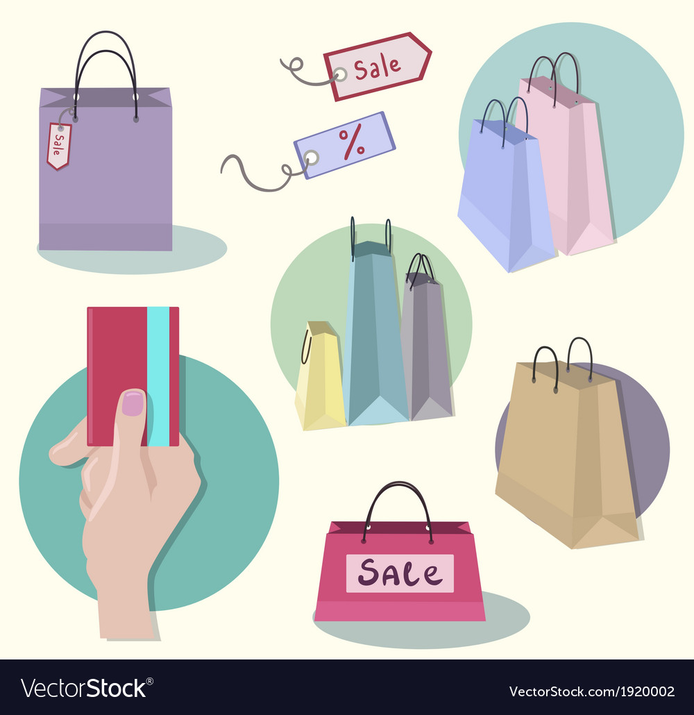 Shopping icons sale tag paper bags vector   Price: 1 Credit (USD $1)