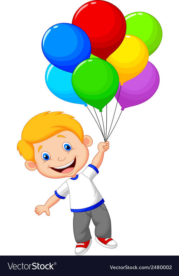 Young boy cartoon flying with balloon vector | Price: 1 Credit (USD $1)