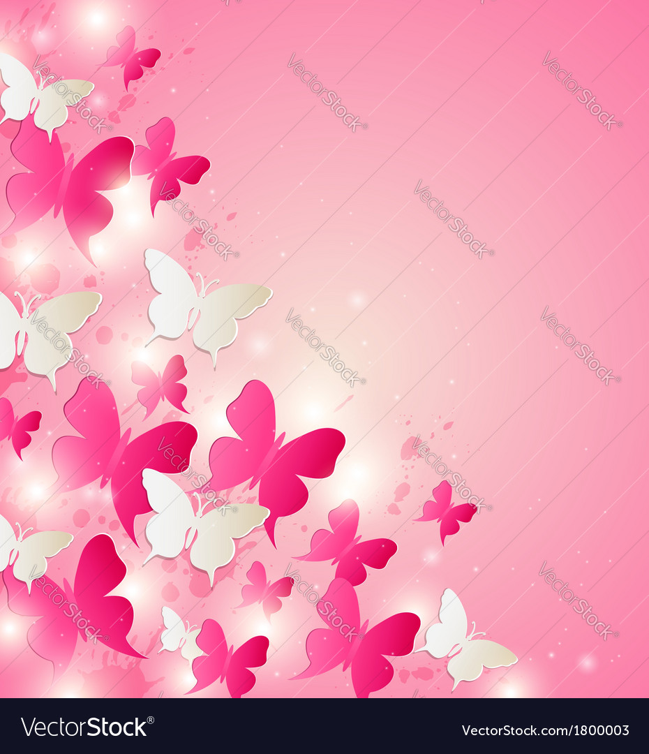 Abstract background with red and white butterflies vector | Price: 1 Credit (USD $1)