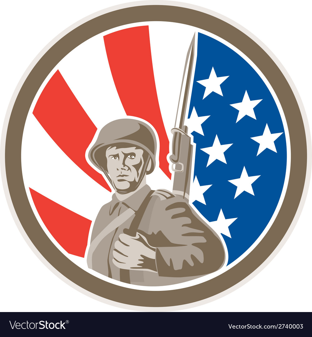 American soldier serviceman bayonet circle retro vector | Price: 1 Credit (USD $1)