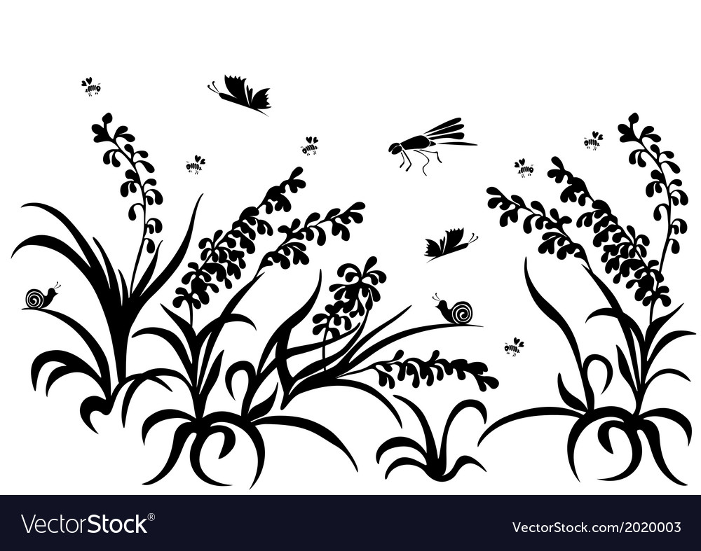 Black silhouette insect grass vector | Price: 1 Credit (USD $1)