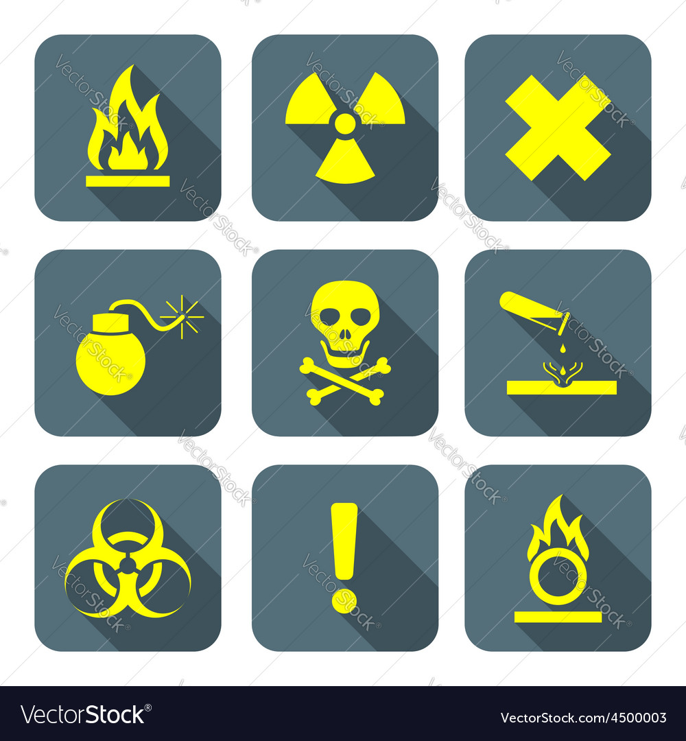 Bright yellow color flat style hazardous waste vector | Price: 1 Credit (USD $1)