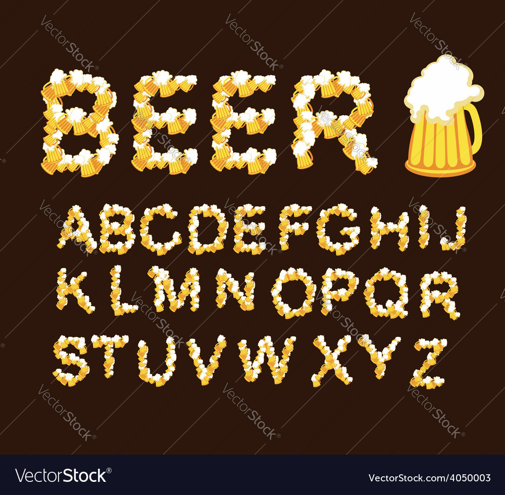 Font beer letters from beer mugs vector | Price: 1 Credit (USD $1)