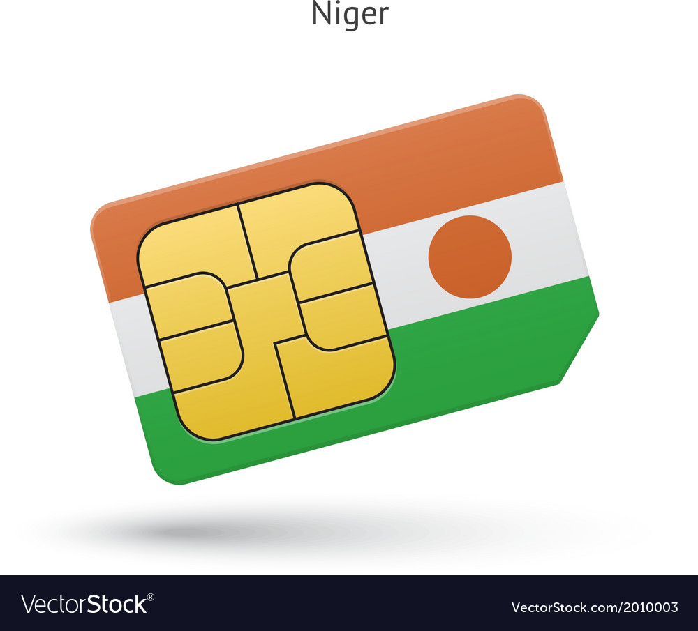 Niger mobile phone sim card with flag vector | Price: 1 Credit (USD $1)