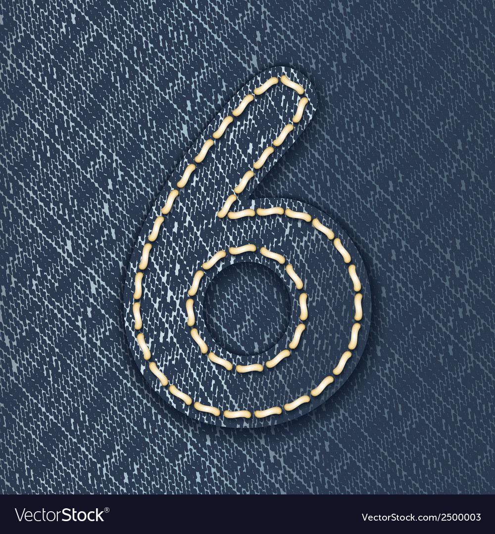 Number 6 made from jeans fabric vector | Price: 1 Credit (USD $1)