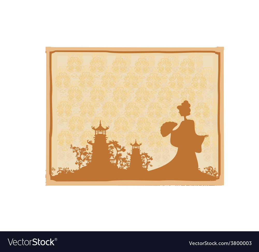 Old paper with geisha silhouette on abstract asian vector | Price: 1 Credit (USD $1)