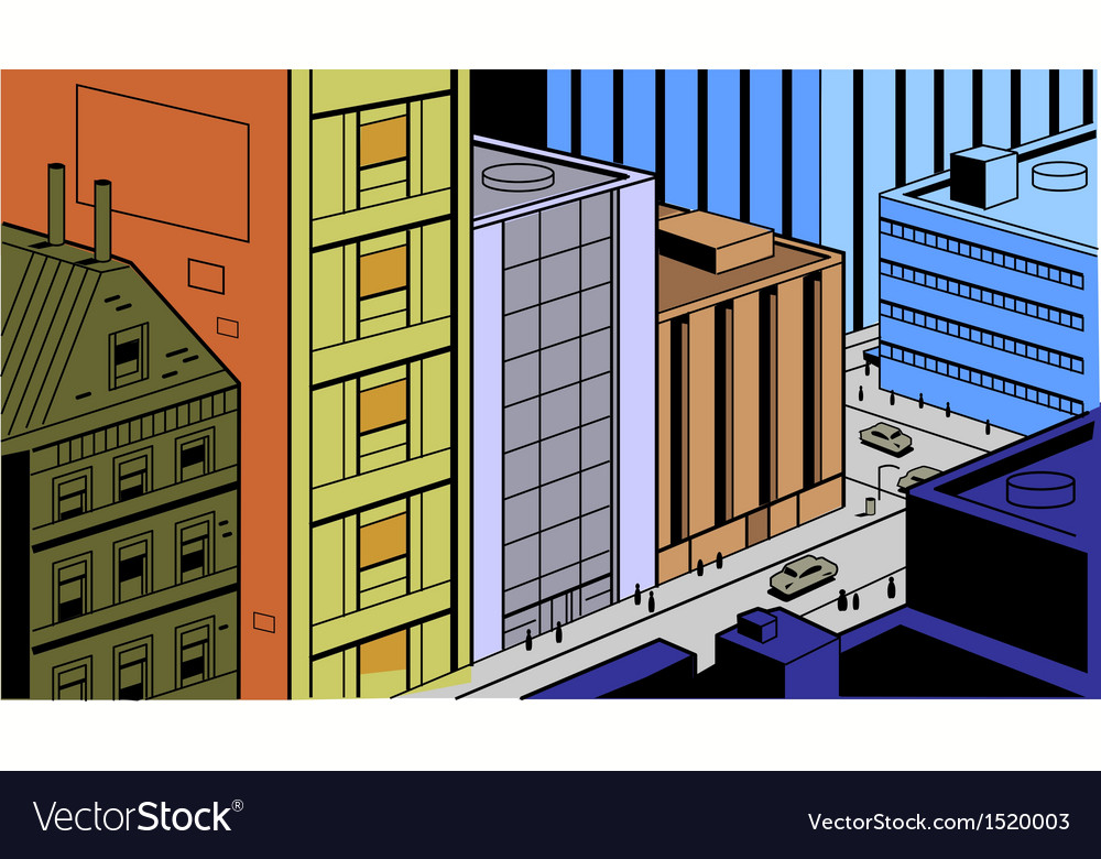 Retro comics city street scene vector | Price: 3 Credit (USD $3)