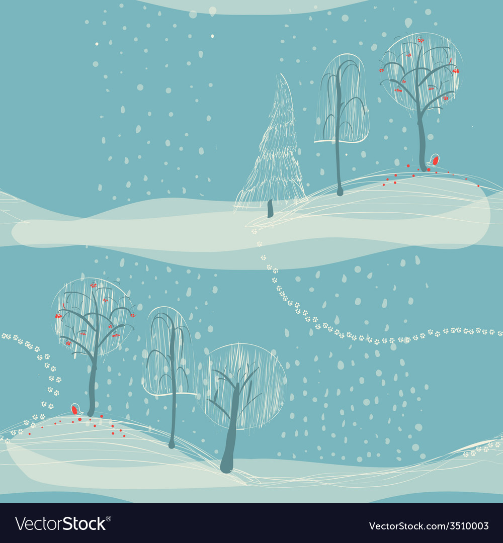 Seamless winter background with trees vector | Price: 1 Credit (USD $1)
