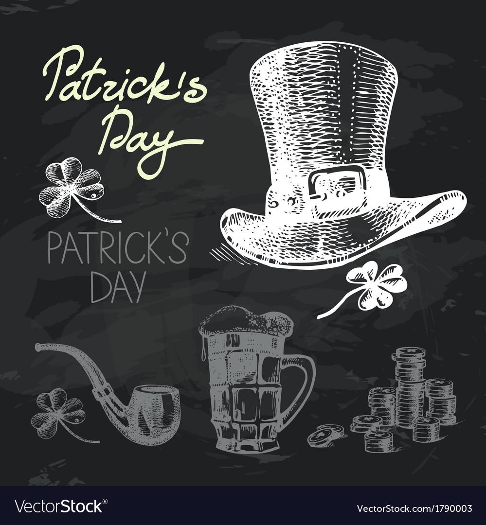 St patricks day hand drawn chalkboard design set vector   Price: 1 Credit (USD $1)