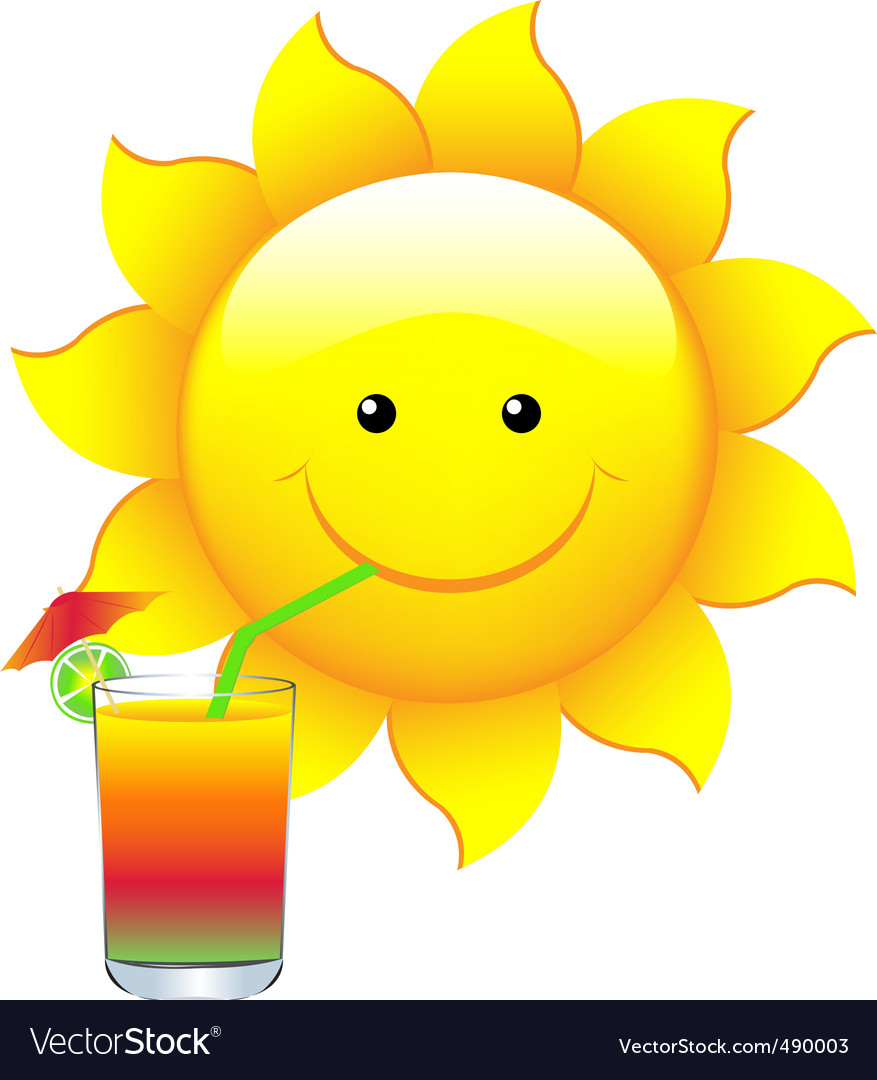 Sun with cocktail vector | Price: 1 Credit (USD $1)