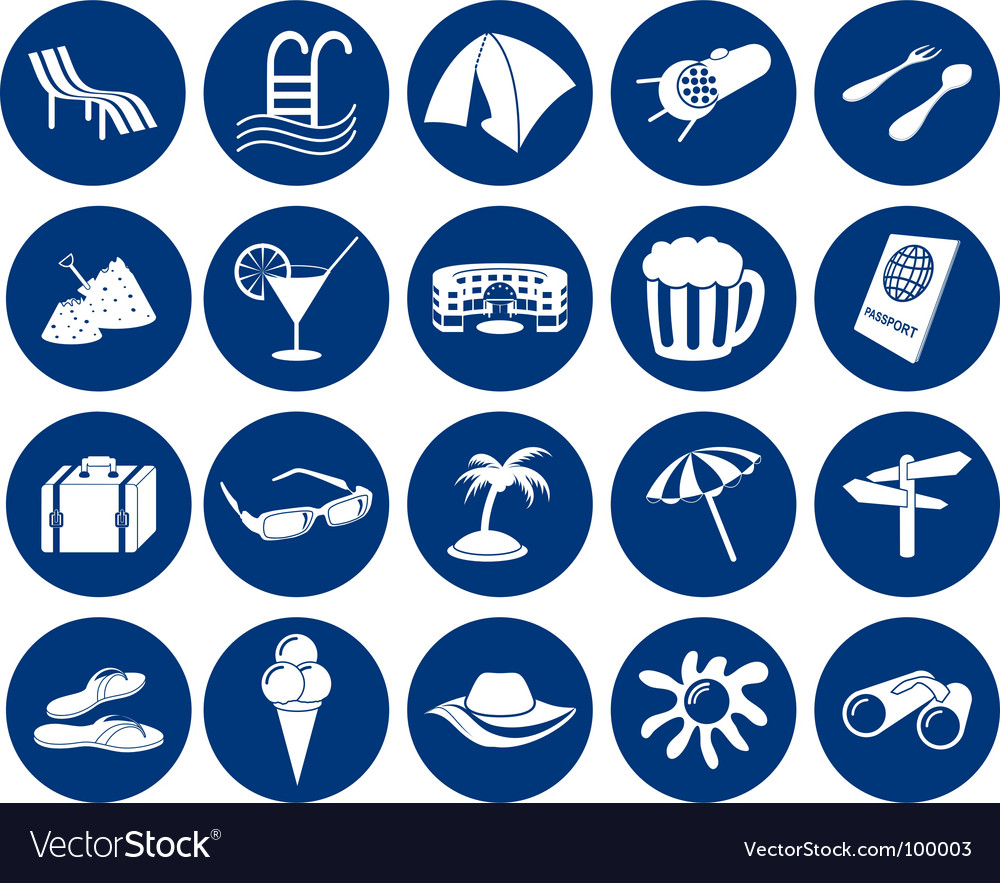 Travel icons set vector | Price: 1 Credit (USD $1)
