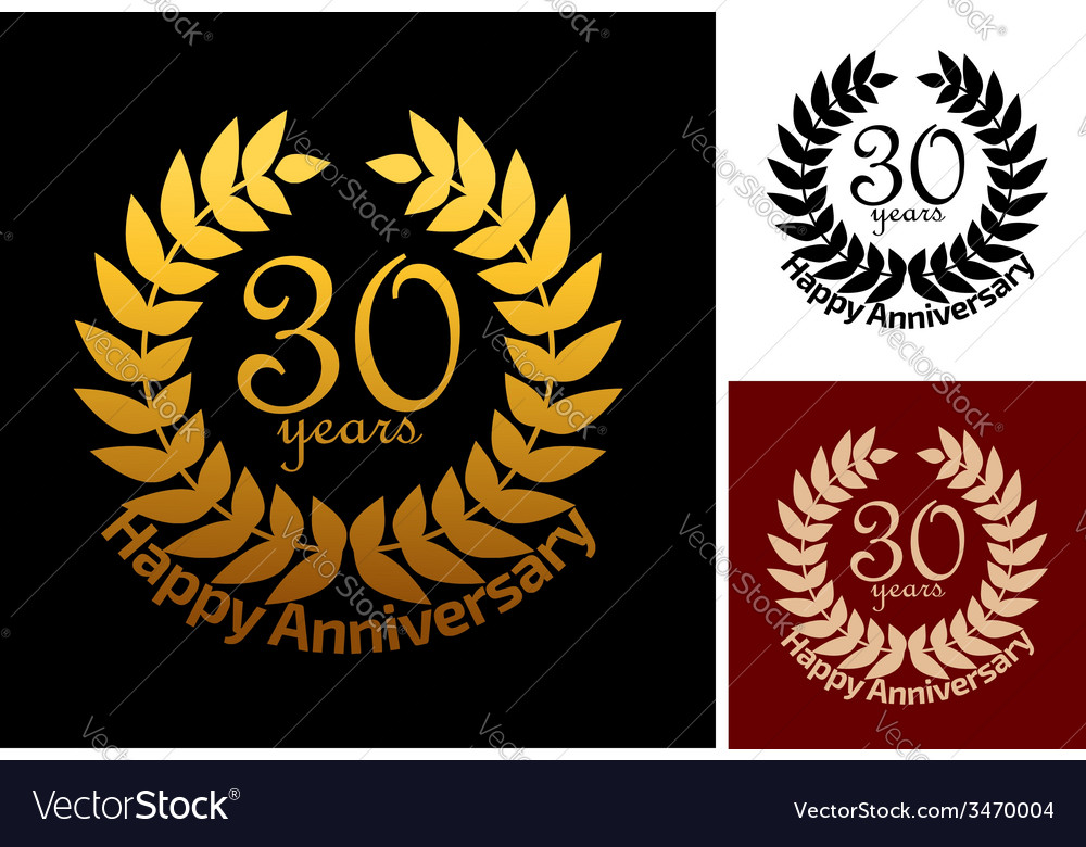 30 years anniversary jubilee wreath vector | Price: 1 Credit (USD $1)