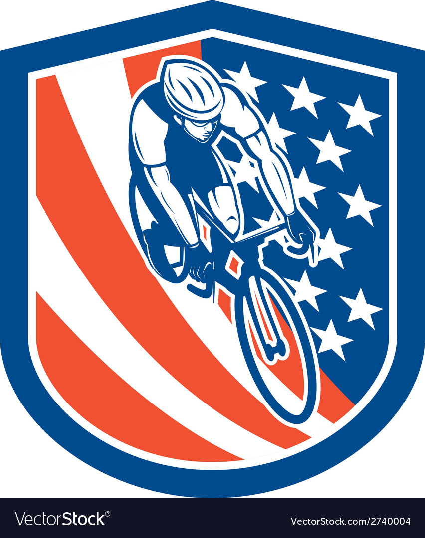 Bicycle rider usa flag shield retro vector | Price: 1 Credit (USD $1)