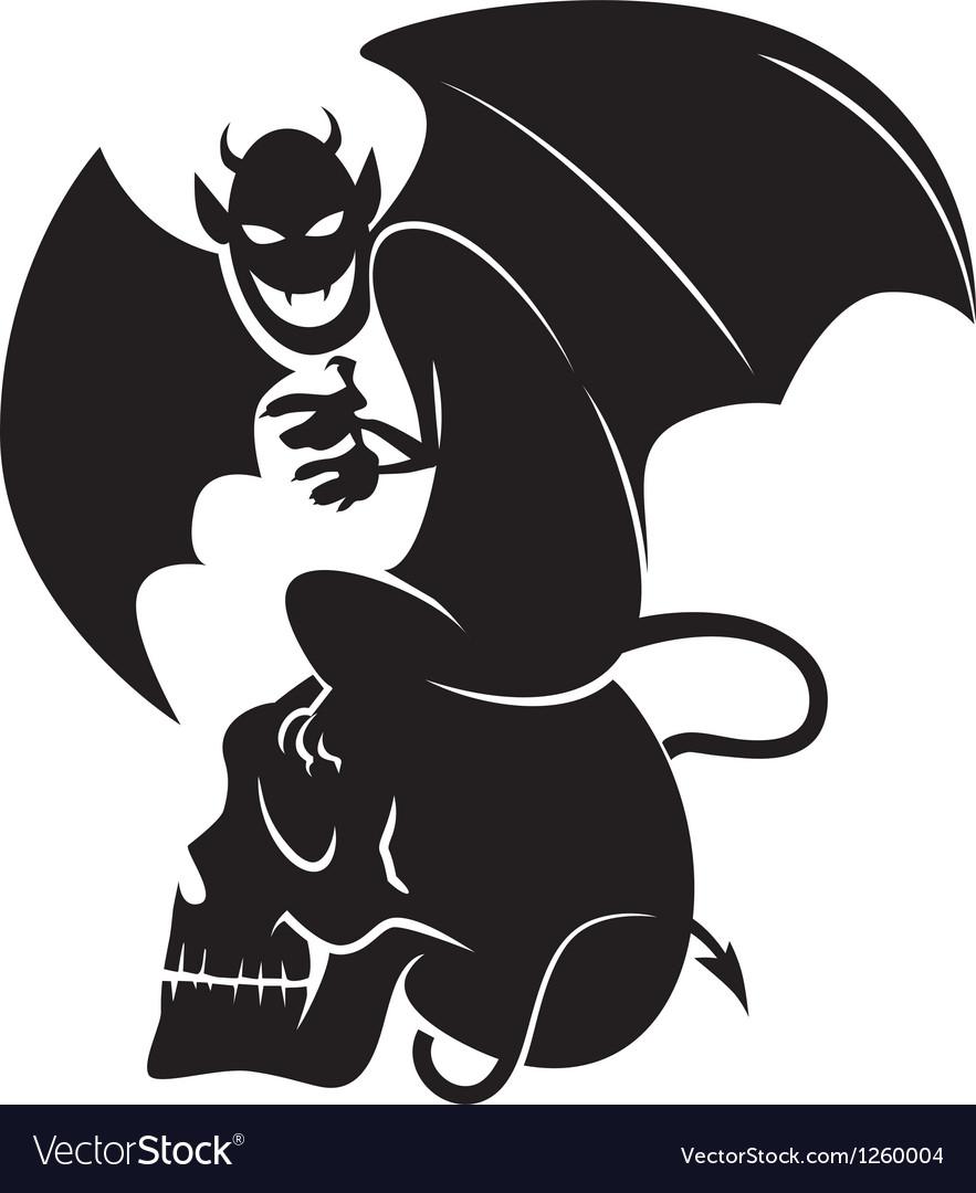 Devil skull sihouette vector | Price: 1 Credit (USD $1)