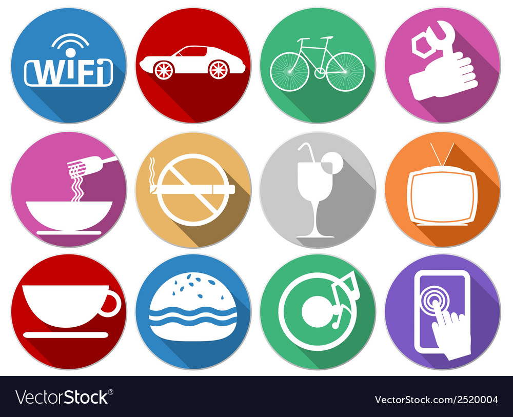 Flat icons service vector