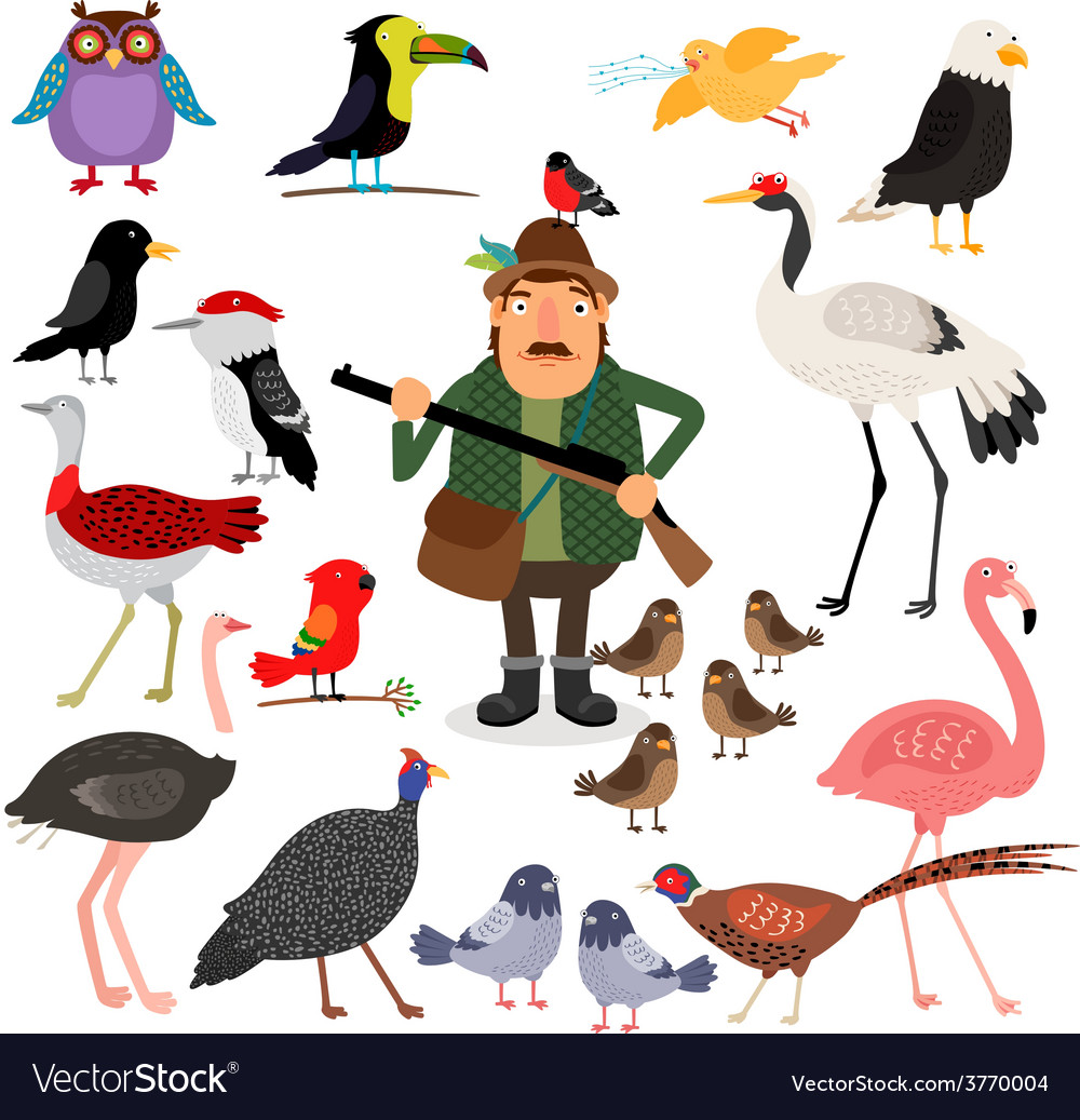 Fowling birds and hunter vector   Price: 1 Credit (USD $1)